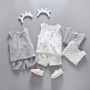 Summer Style Beach Star Tree Print Casual Sport Suit 2Pcs Sets T Shirt + Shorts Baby Girls/boy Clothes Set