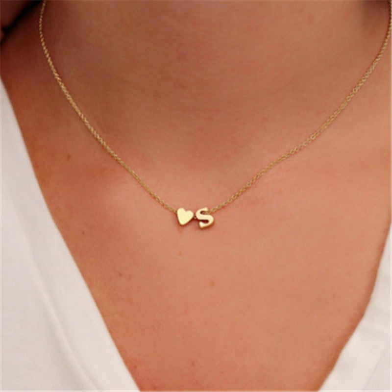 Tiny Initial Name/ Choker Necklace/ 26 Letters & Heart Pendant Gift Jewelry