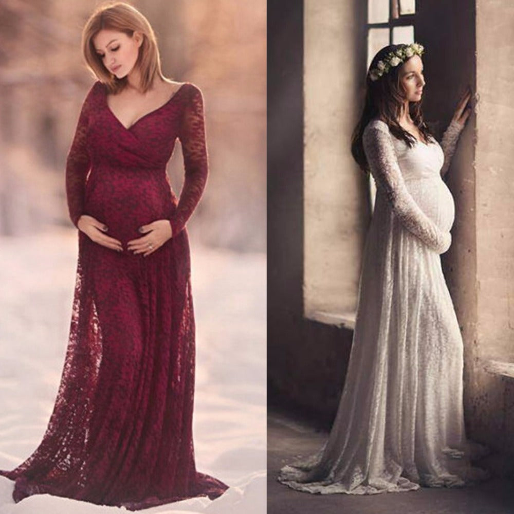 Maternity Dress Photography Prop V-neck Long Sleeve Wedding Party Gown Pregnant
