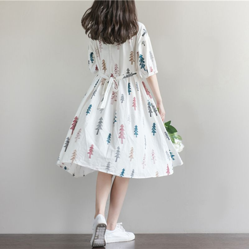 Collar Print Cotton Linen Losse Casual Pregnancy Dress
