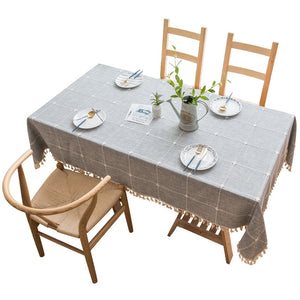 Decorative Linen Tablecloth With Tassels Water and Oilproof