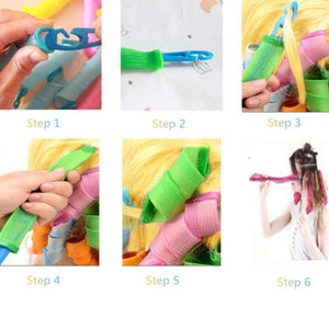 18 Pcs Magic Long Hair Curlers Curl Formers Spiral Ringlets Hair Curler Hairdressing Tool