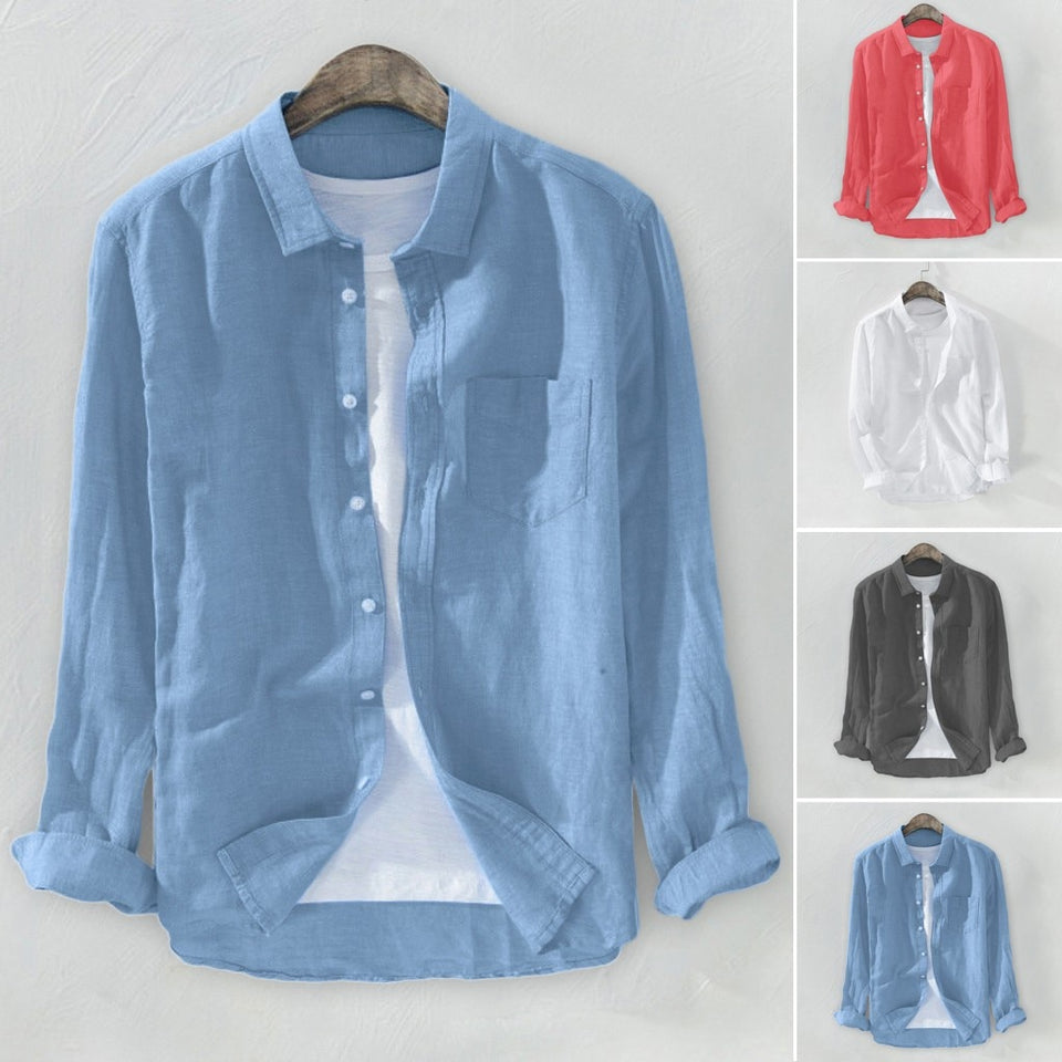 Men's Baggy Solid Cotton Linen Long Sleeve Button Pocket Shirts