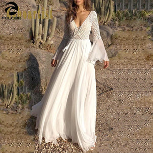 Long Flare Sleeve V Neck White Party Hollow dress