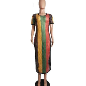 African spring/summer outfit sexy multicolor mesh stripe dress