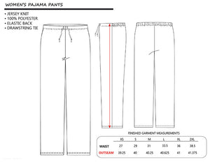 Ladies Pajama Pants with Drum Set Pattern