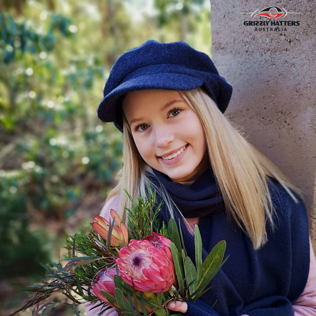 Wool beret with a peak cap Ladies Smart Casual look Warm and Beautiful cap 100% wool navy blue colour