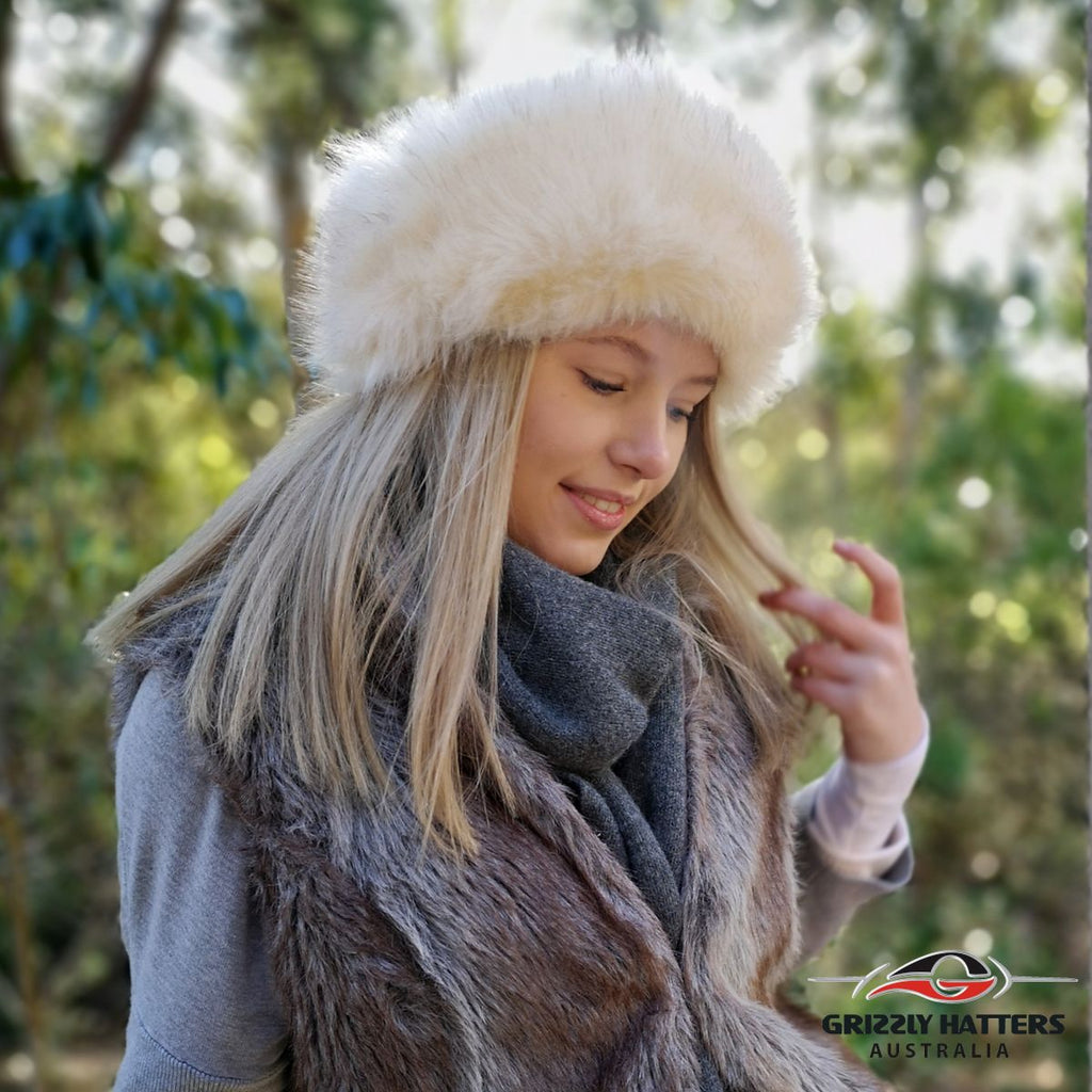 Fake Faux Fur Hats Handmade in Tasmania Australia Warm with extra fleece lining best winter hat