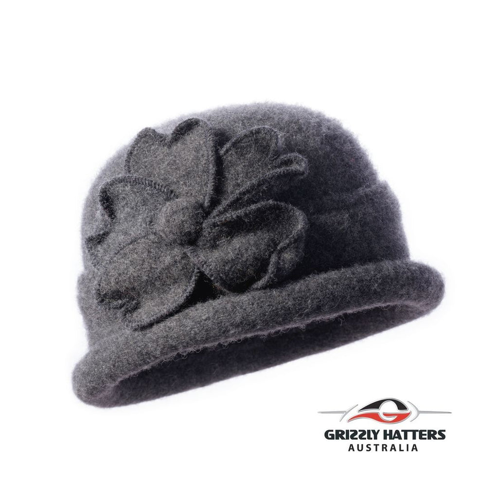 Packable Small Brim Australian Wool Hat Small fit dark gray colour