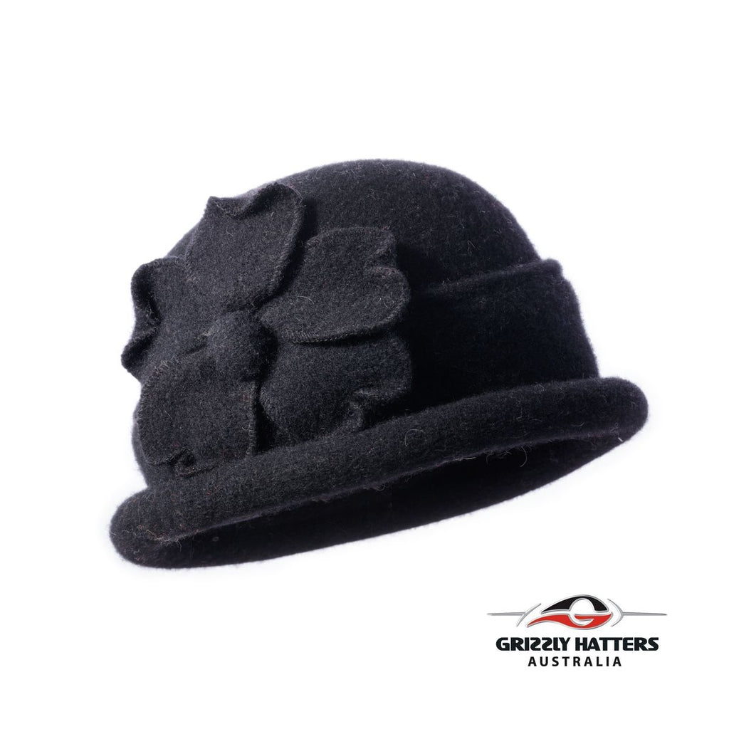 Packable Small Brim Australian Wool Hat Small fit black colour