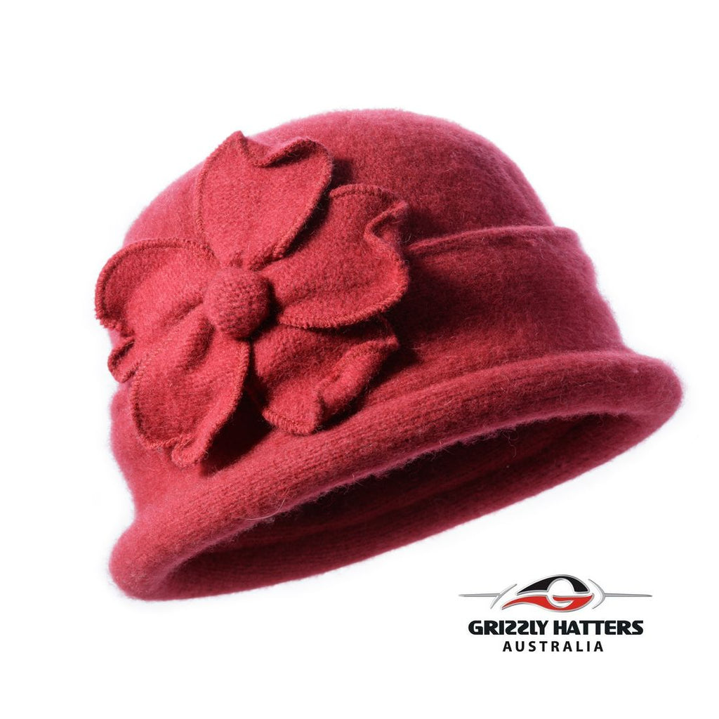 Packable Small Brim Australian Wool Hat Small fit chilli red colour