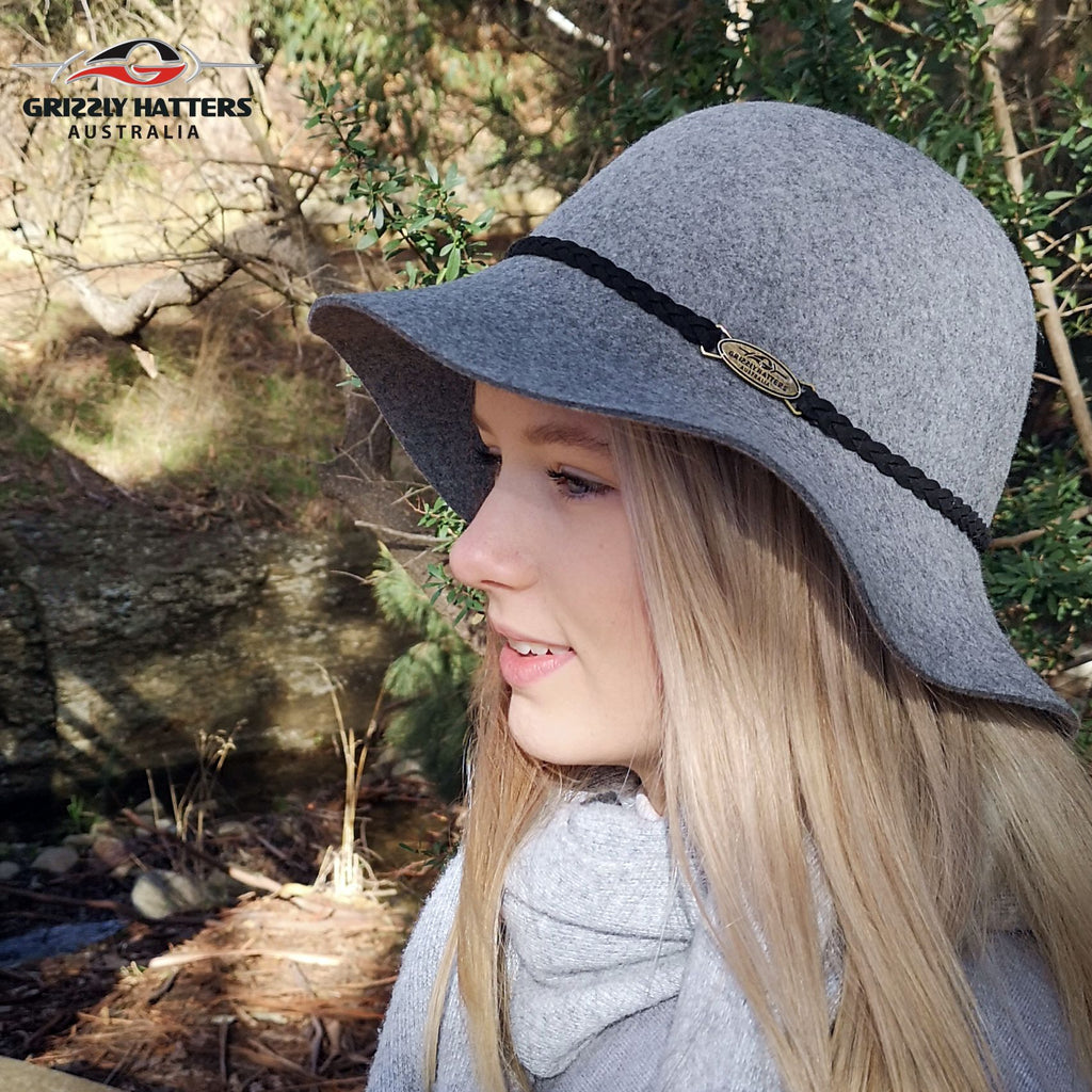 Ladies elegant felt hat with medium size brim in light grey colour hand made in Tasmania Australia by Grizzly Hatters