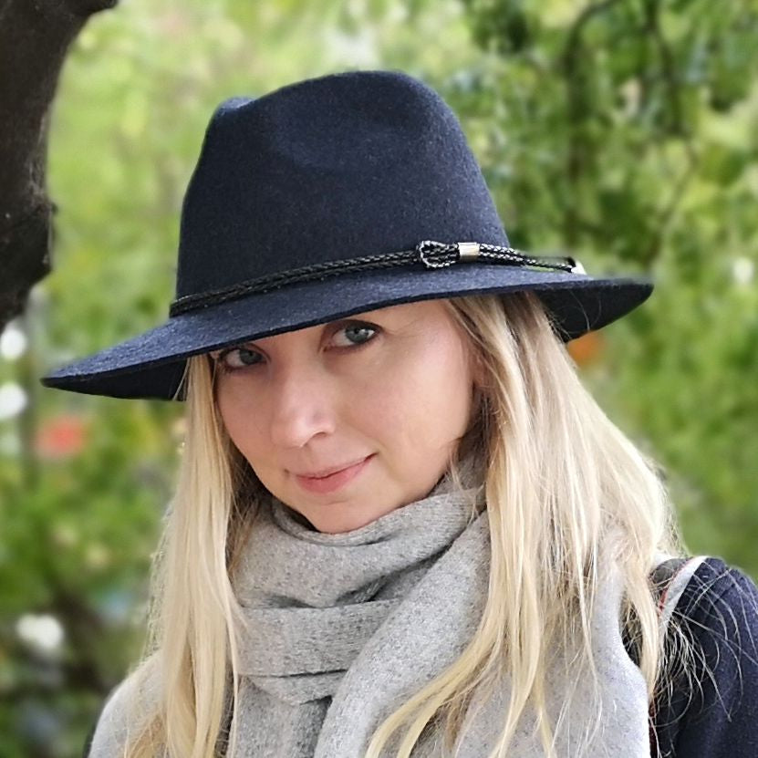 100% Wool Unisex Classic Fashionable Fedora Hat in Navy Blue Marl Colour Handmade in Tasmania, Australia by Grizzly Hatters, small and big sizes
