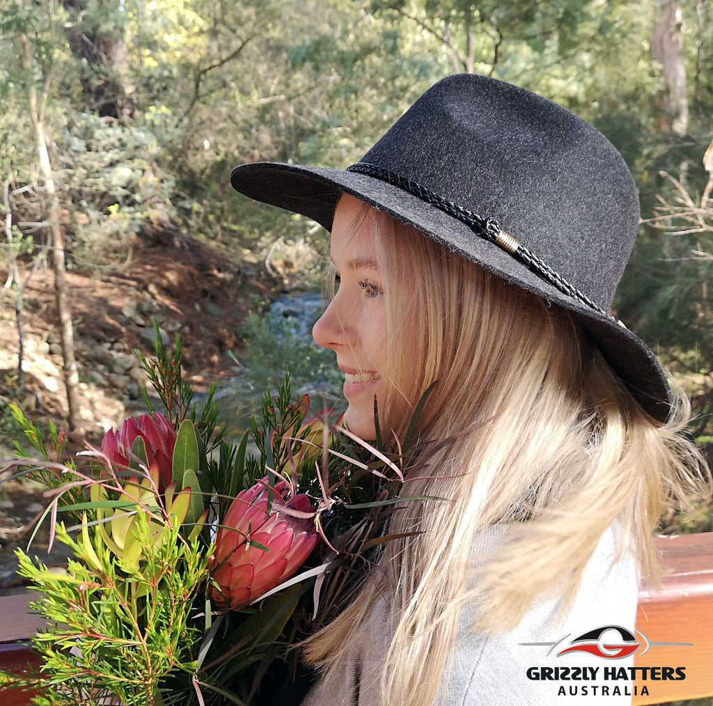 100% Wool Unisex Classic Fashionable Fedora Hat in Charcoal Black Marl Colour Handmade in Tasmania, Australia by Grizzly Hatters, small and big sizes