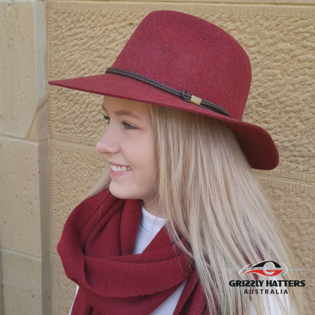 100% Wool Unisex Classic Fashionable Fedora Hat in Maroon Red Marl Colour Handmade in Tasmania, Australia by Grizzly Hatters, small and big sizes