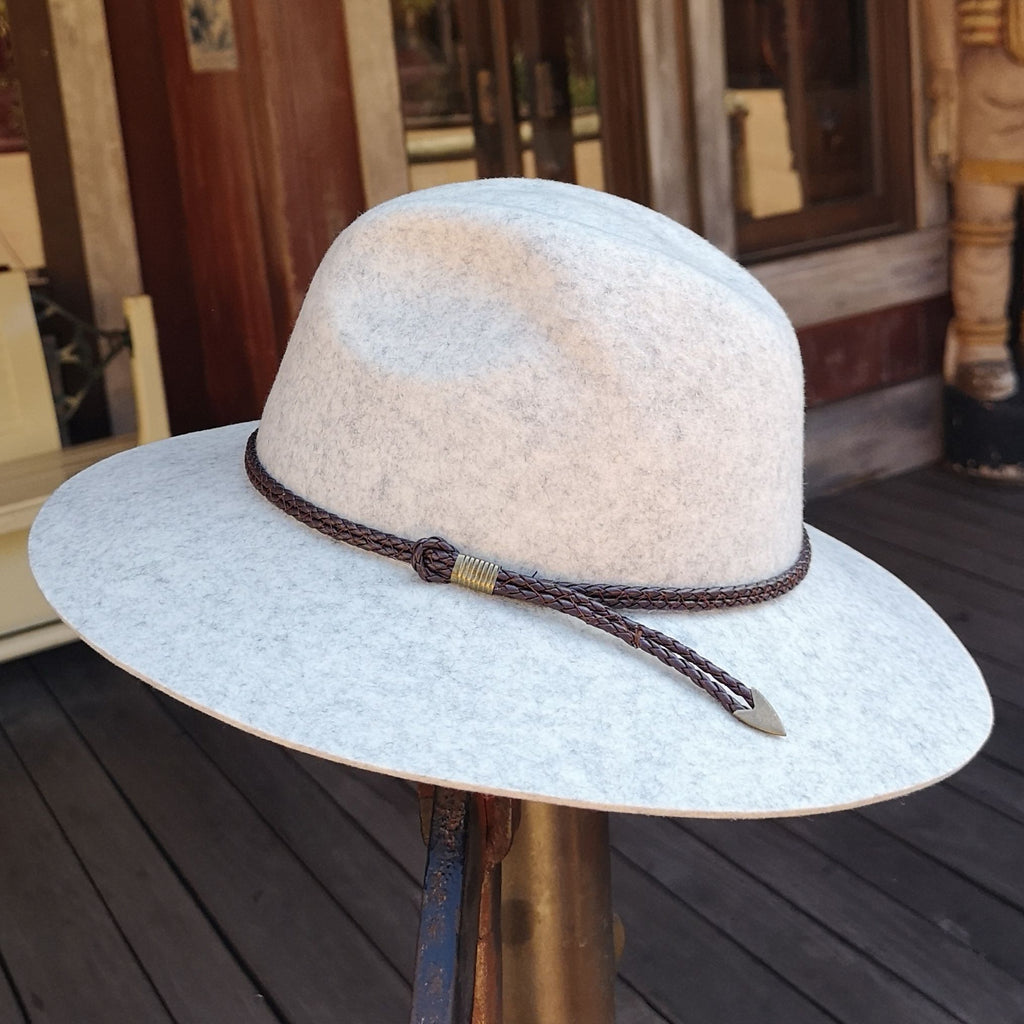 100% Wool Unisex Classic Fashionable Fedora Hat in Silver Marl Colour Handmade in Tasmania, Australia by Grizzly Hatters, small and big sizes