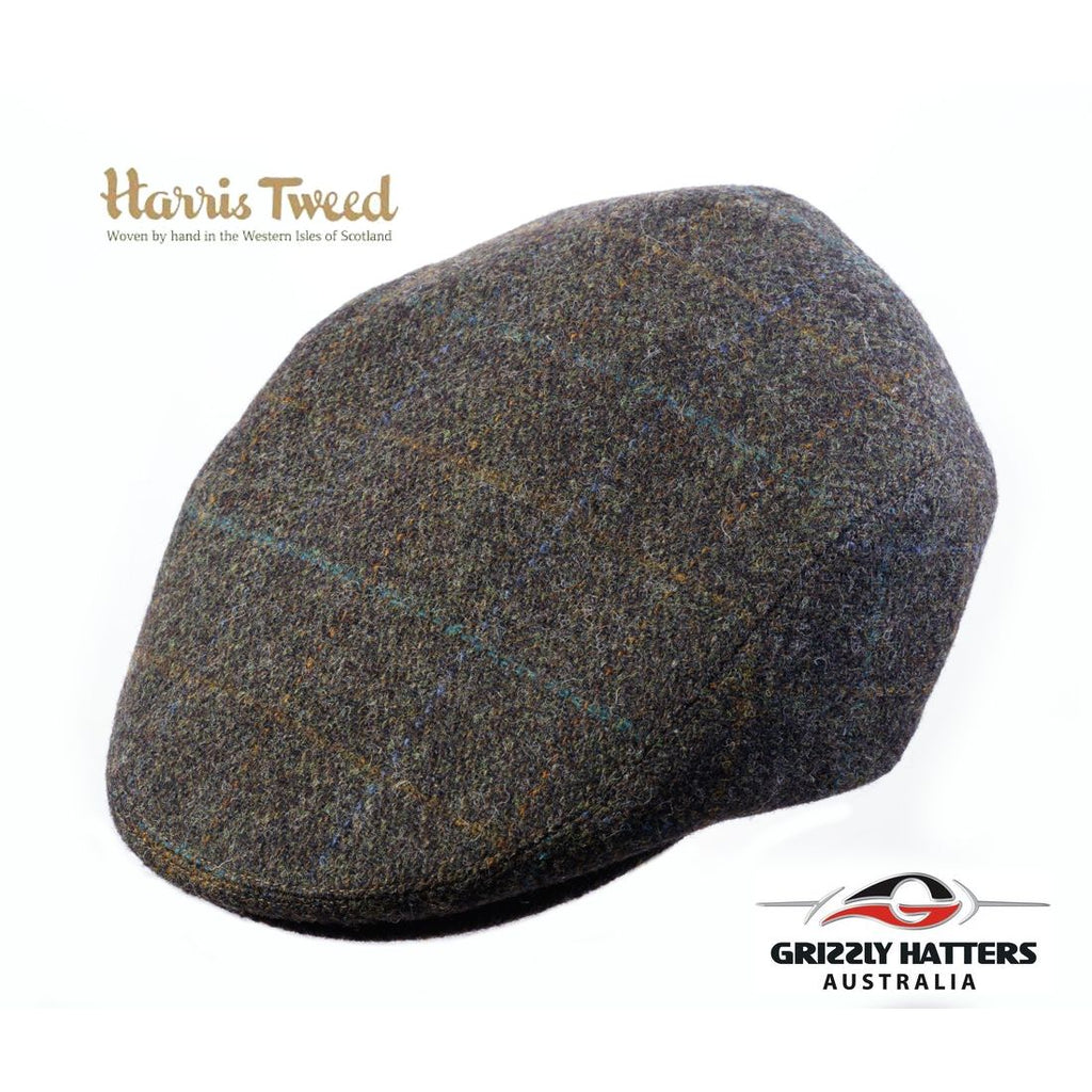 Quality Harris Tweed Wool Flat Cap in Dark Olive colour adjustable size classic gift for men
