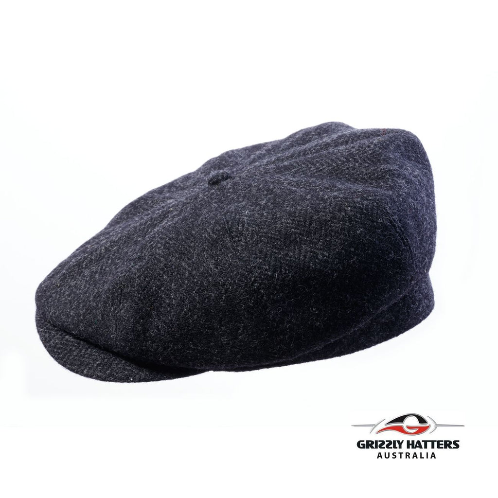 Harris Tweed Wool 8 panel Cap in black Handmade in Australia