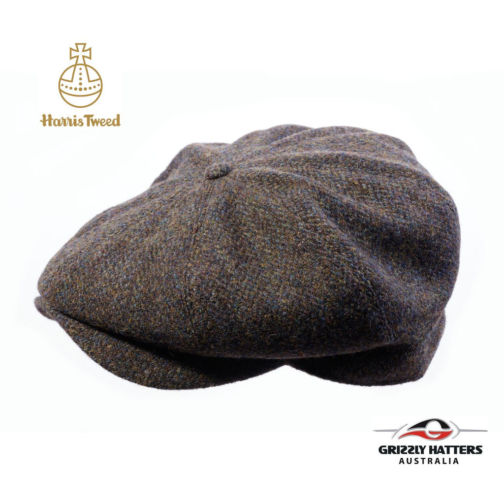 Harris Tweed Wool 8 panel Cap in olive colour Handmade in Australia