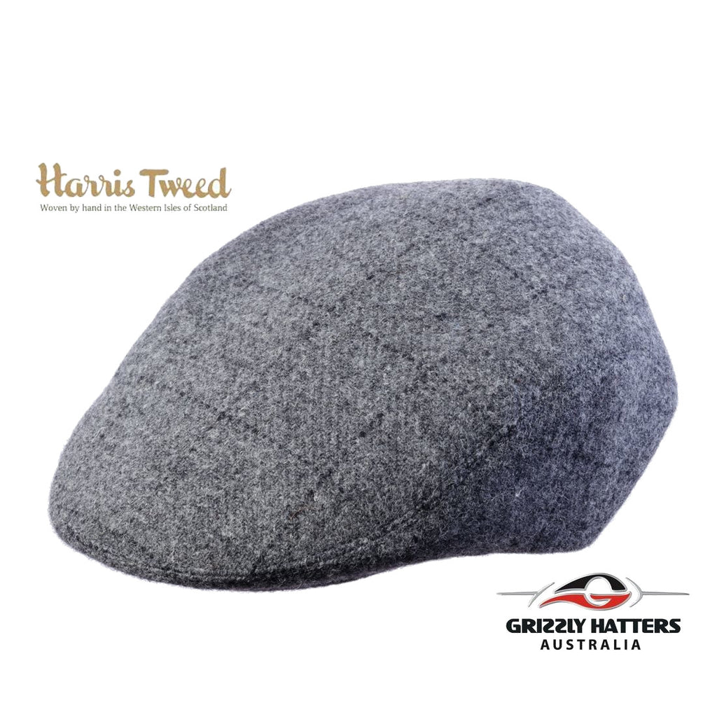 Harris Tweed Wool Flat Cap in Gray Colour