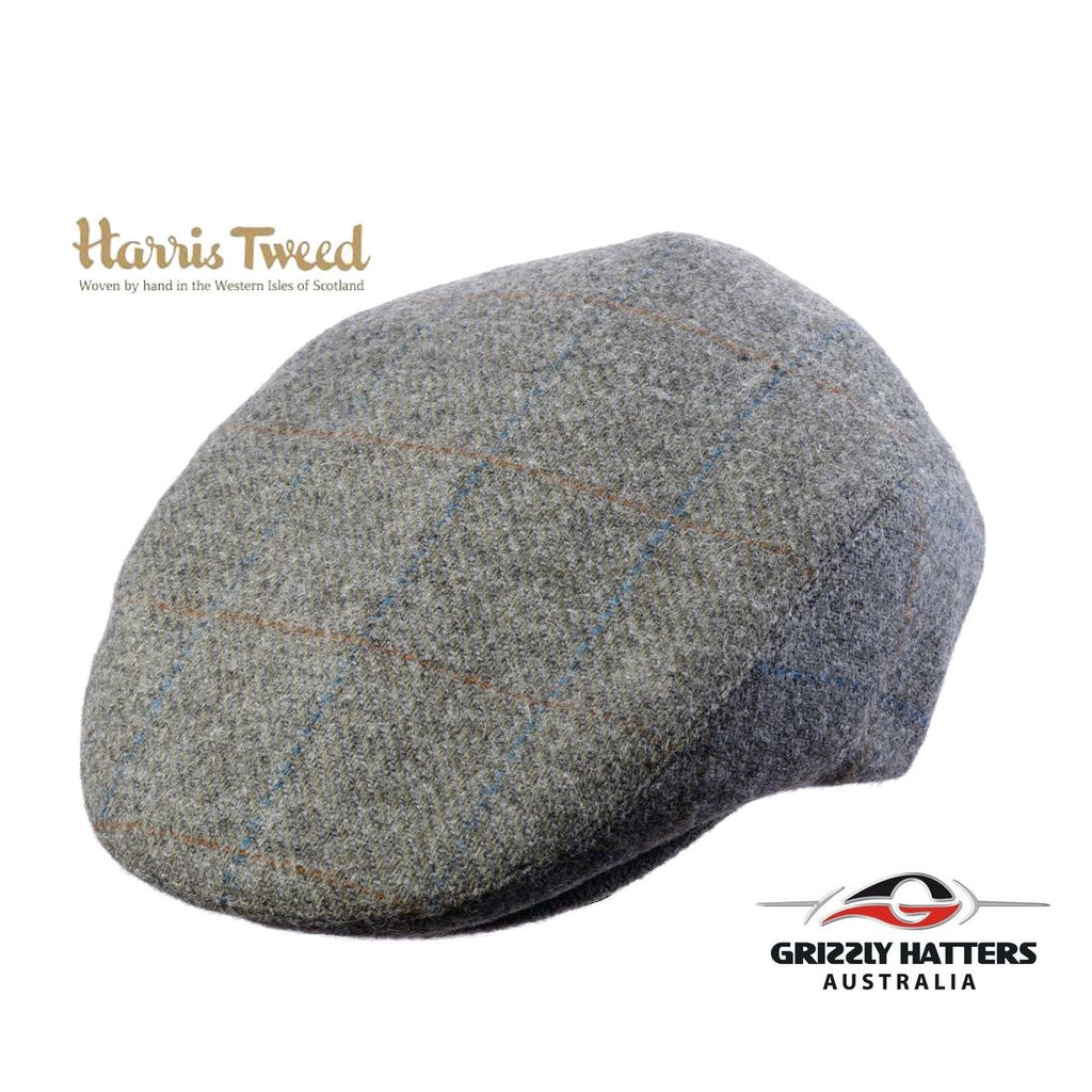 Quality Harris Tweed Wool Flat Cap in Light Olive colour adjustable size classic gift for men
