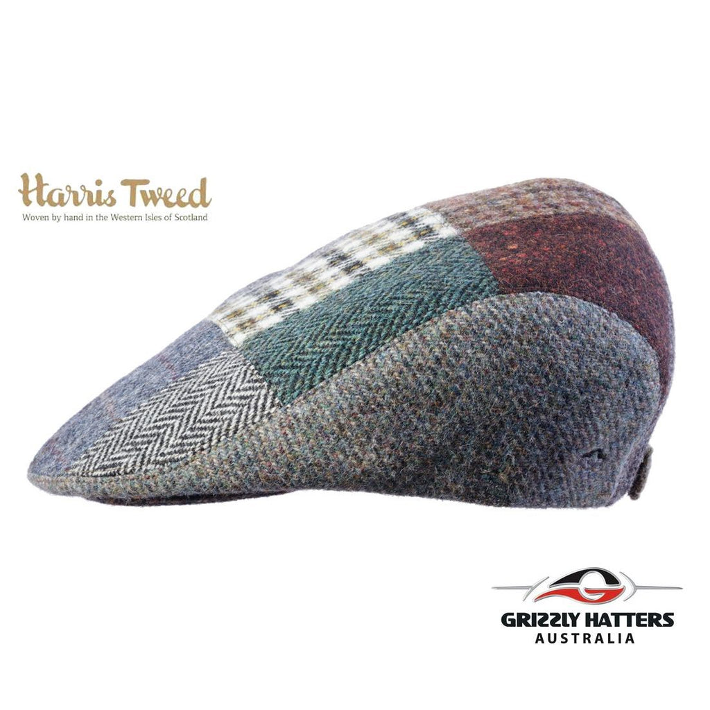 Quality Harris Tweed Wool Flat Cap in Patchwork colours adjustable size gift for him