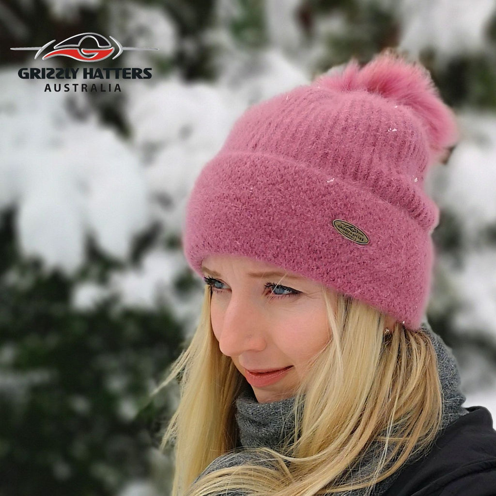 Merino & Angora Wool blend Pompom Beanie with fleece lining pink colour by Grizzly Hatters Australia