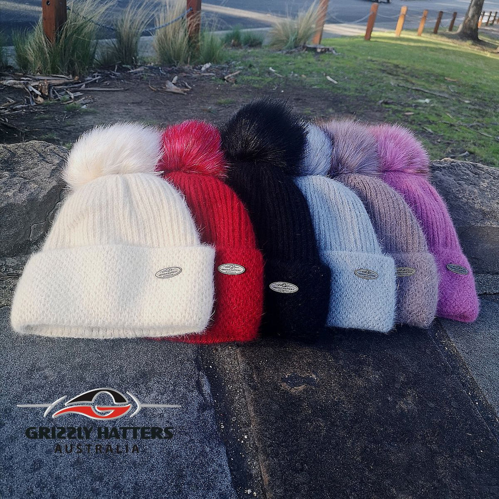Merino & Angora Wool blend Pompom Beanie with fleece lining 6 colours by Grizzly Hatters Australia