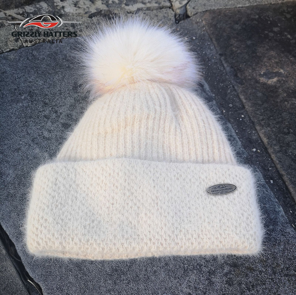 Merino & Angora Wool blend Pompom Beanie with fleece lining beige colour by Grizzly Hatters Australia
