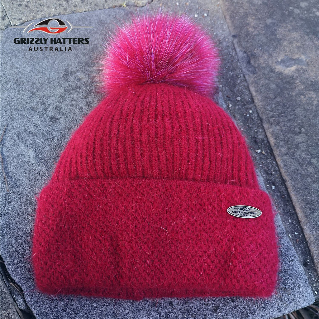 Merino & Angora Wool blend Pompom Beanie with fleece lining red colour by Grizzly Hatters Australia