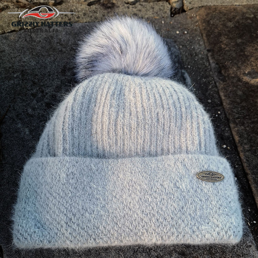 Merino & Angora Wool blend Pompom Beanie with fleece lining light grey colour by Grizzly Hatters Australia