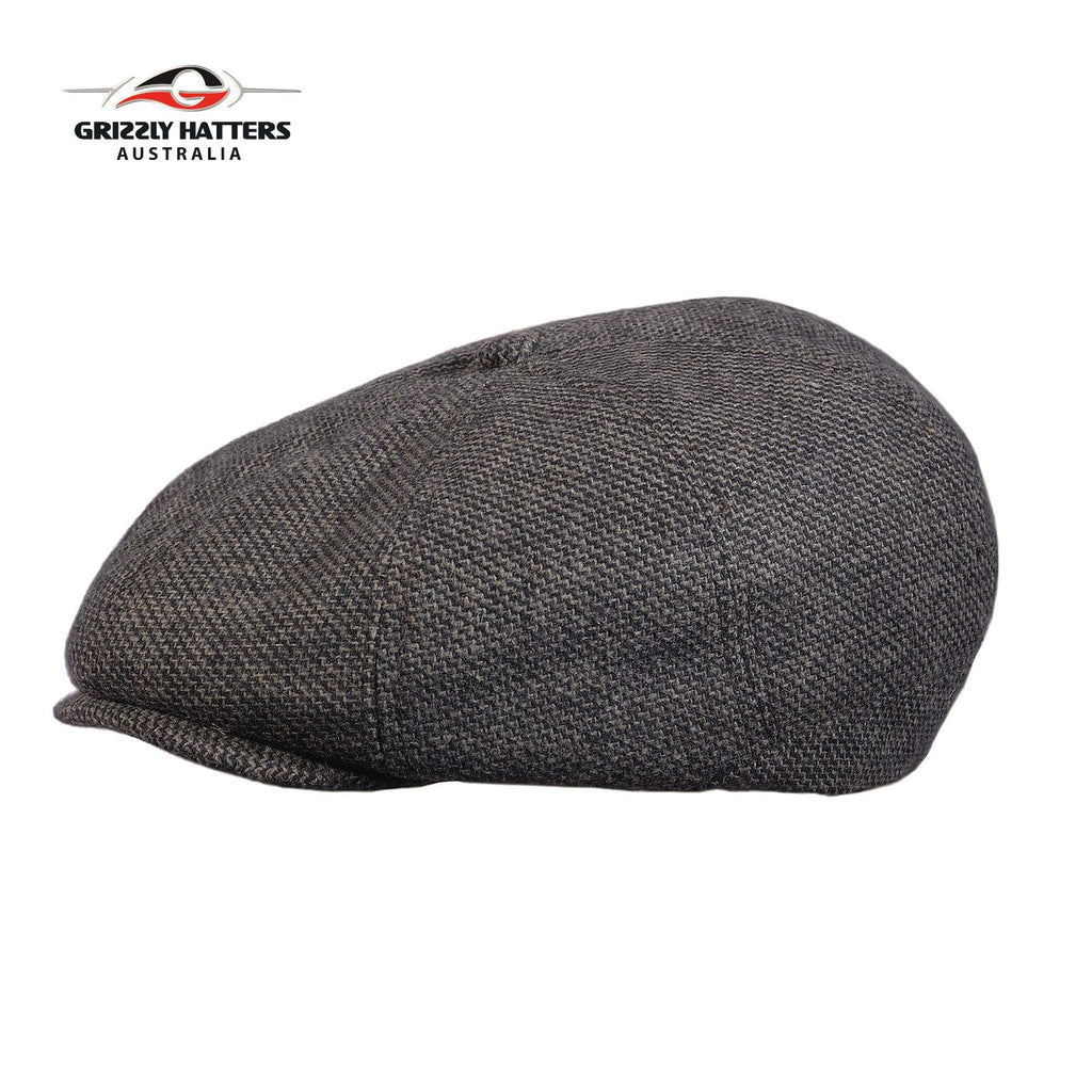 Newsboy / Gatsby 8 panel Italian Wool Cap Black&Tan Colour