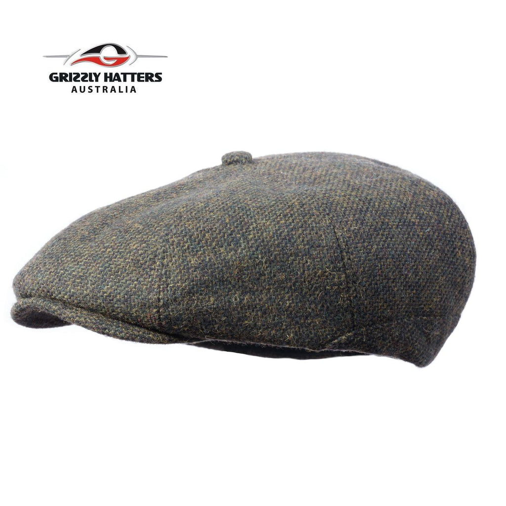 Newsboy / Gatsby 8 panel Italian Wool Cap Black&Green Colour