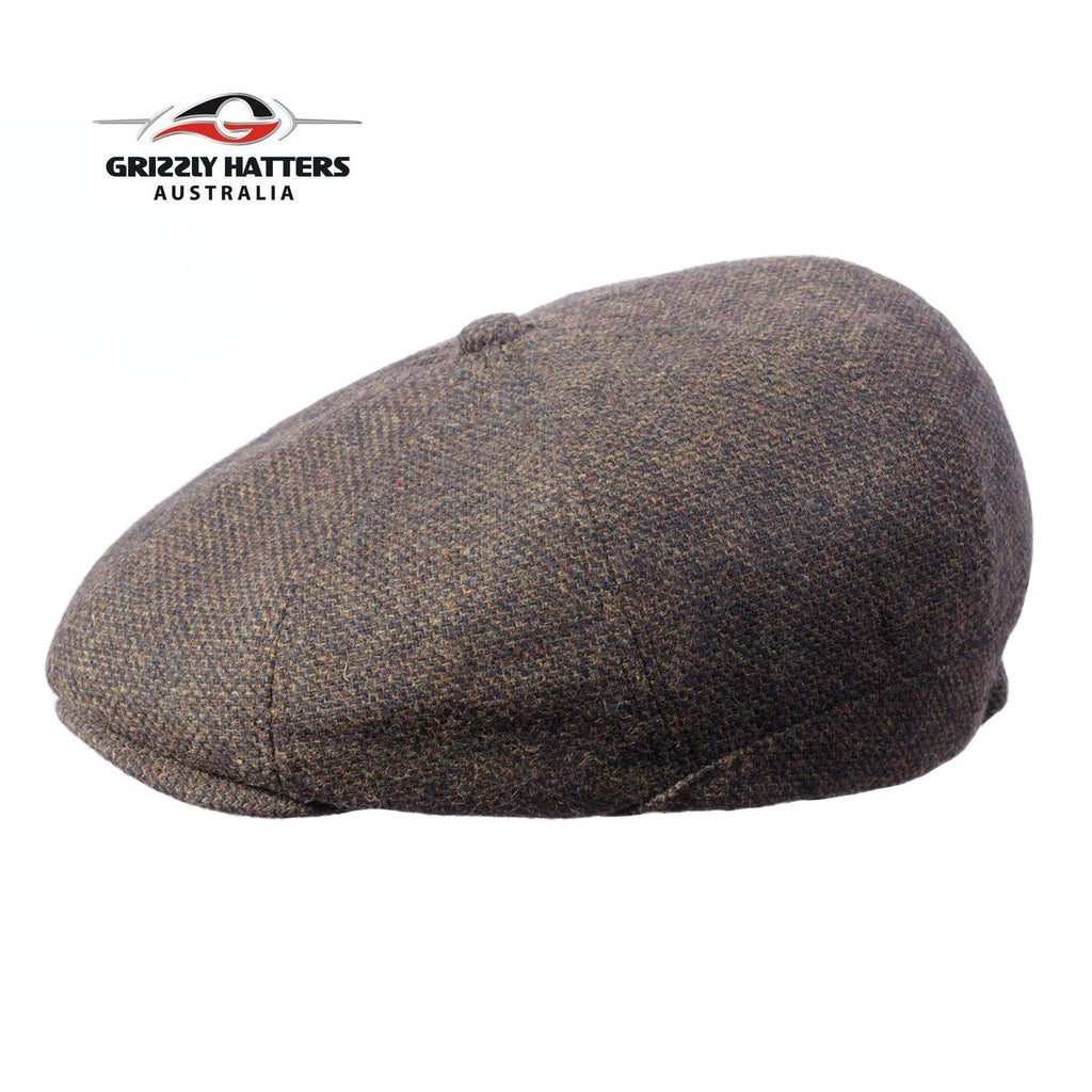 Newsboy / Gatsby 8 panel Italian Wool Cap Black&Brown Colour