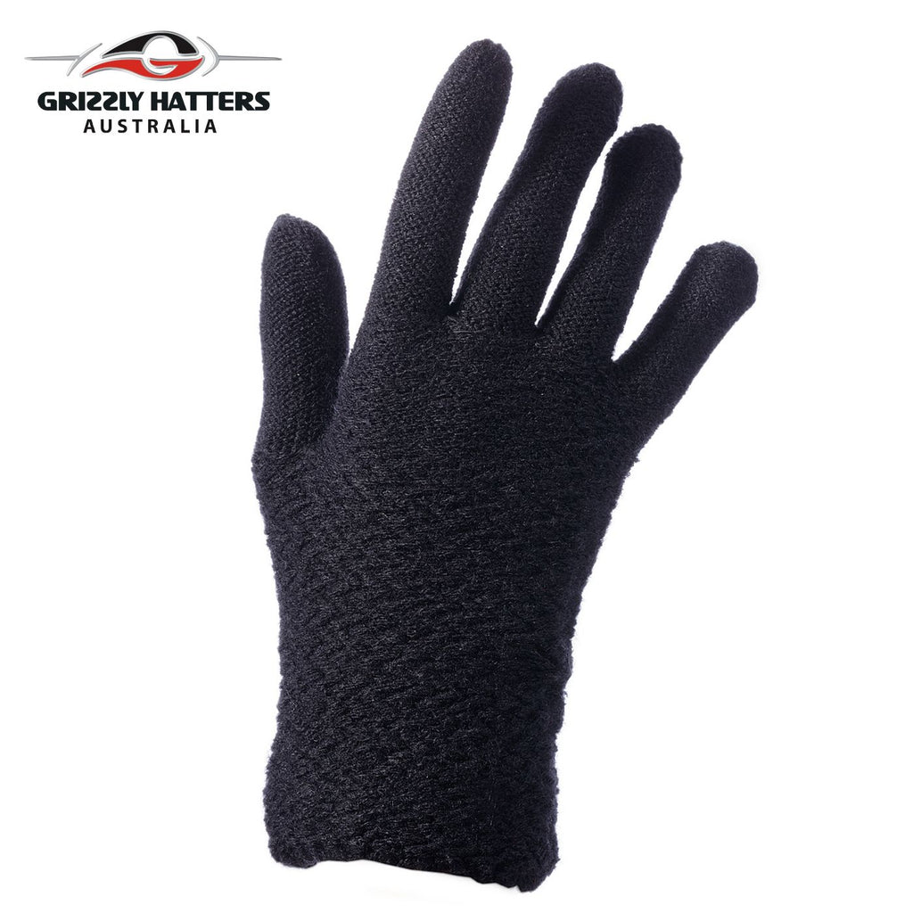 Ladies plain gloves made from super soft acrylic yarn black colour
