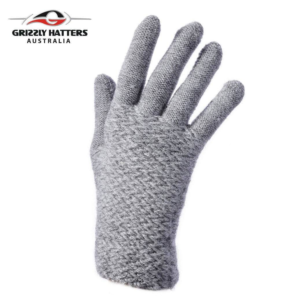 Ladies plain gloves made from super soft acrylic yarn grey colour