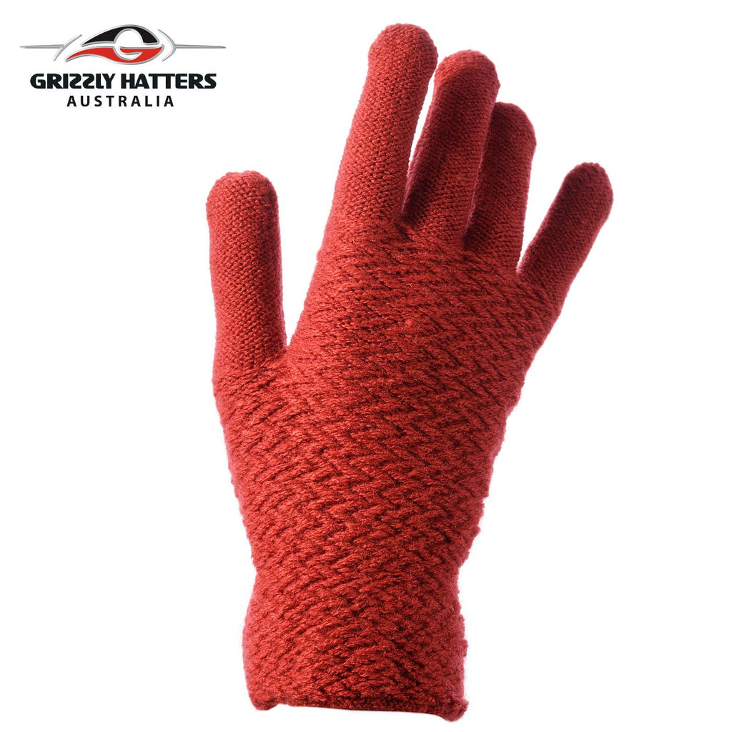 Ladies plain gloves made from super soft acrylic yarn red colour