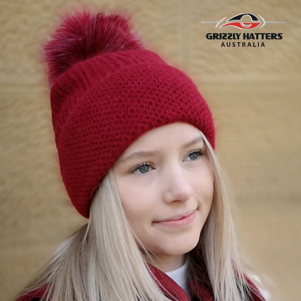 Merino & Angora Wool blend Pompom Beanie with fleece lining Red Colour