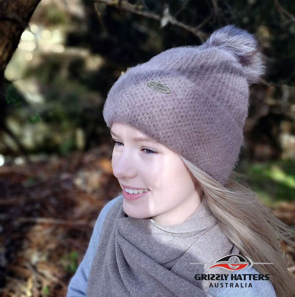 Merino & Angora Wool blend Pompom Beanie with fleece lining taupe colour by Grizzly Hatters Australia