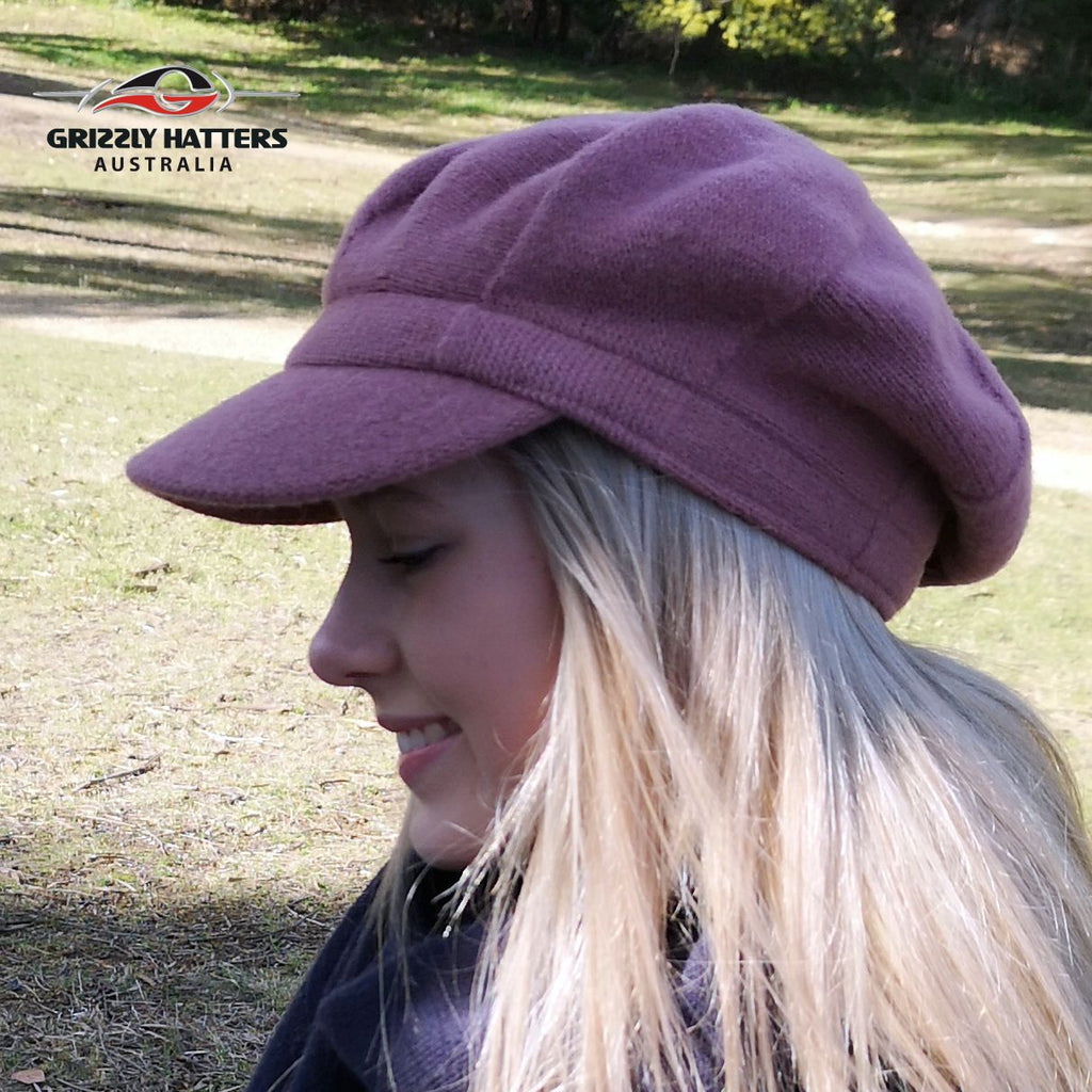 Wool beret with peak wool cap adjustable size Australian wool 8 panel cap pink fawn grey maroon