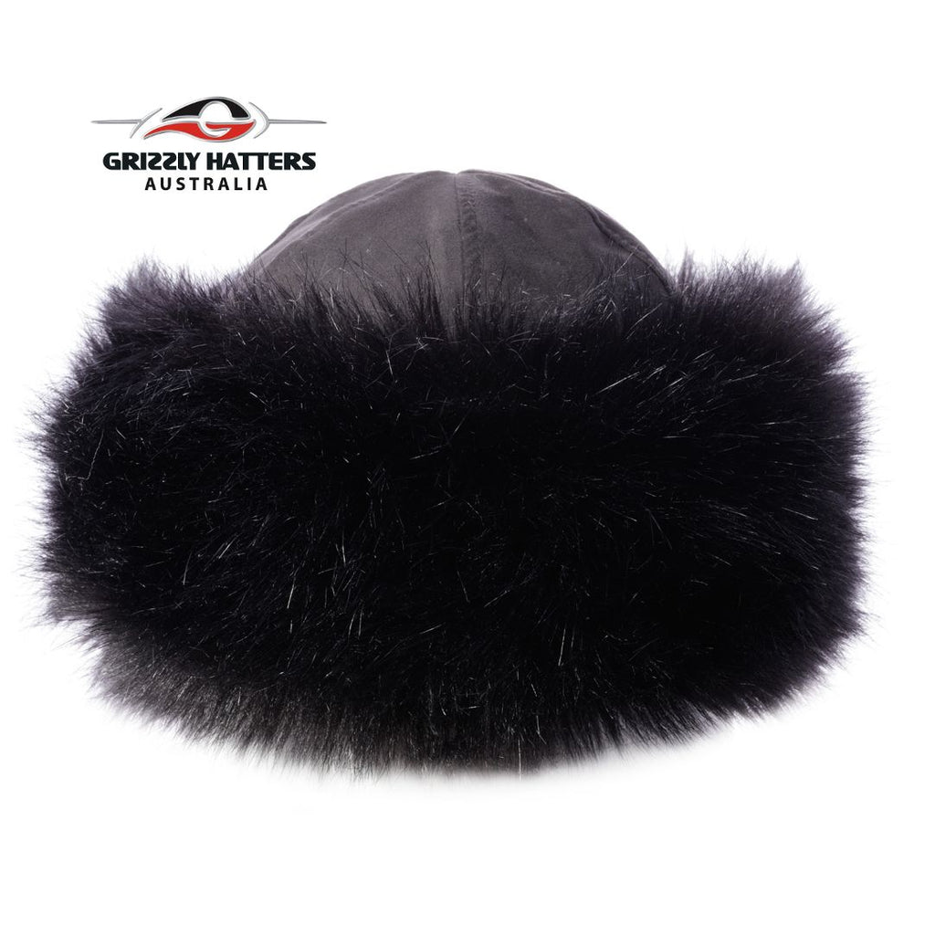 Faux Fur Hat Black Fox Colour