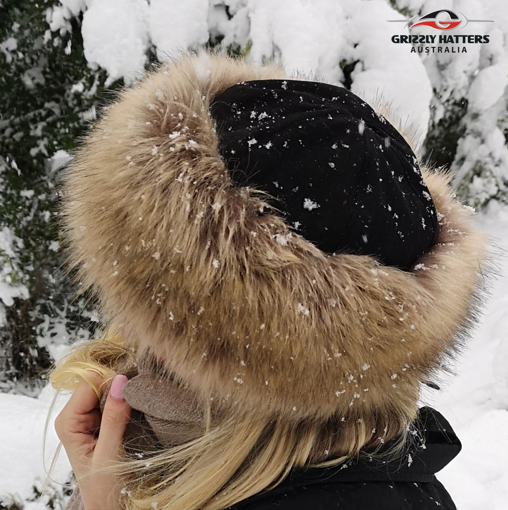Faux Fur Hat Brown Grey Racoon Colour