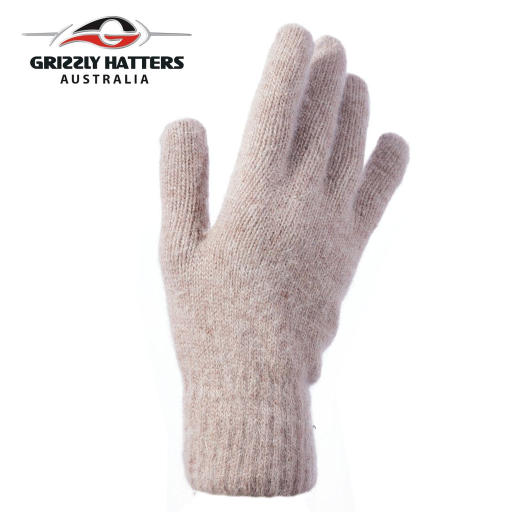 flufffy angora and sheeps wool gloves with extra lining layer by Grizzly Hatters beige colour