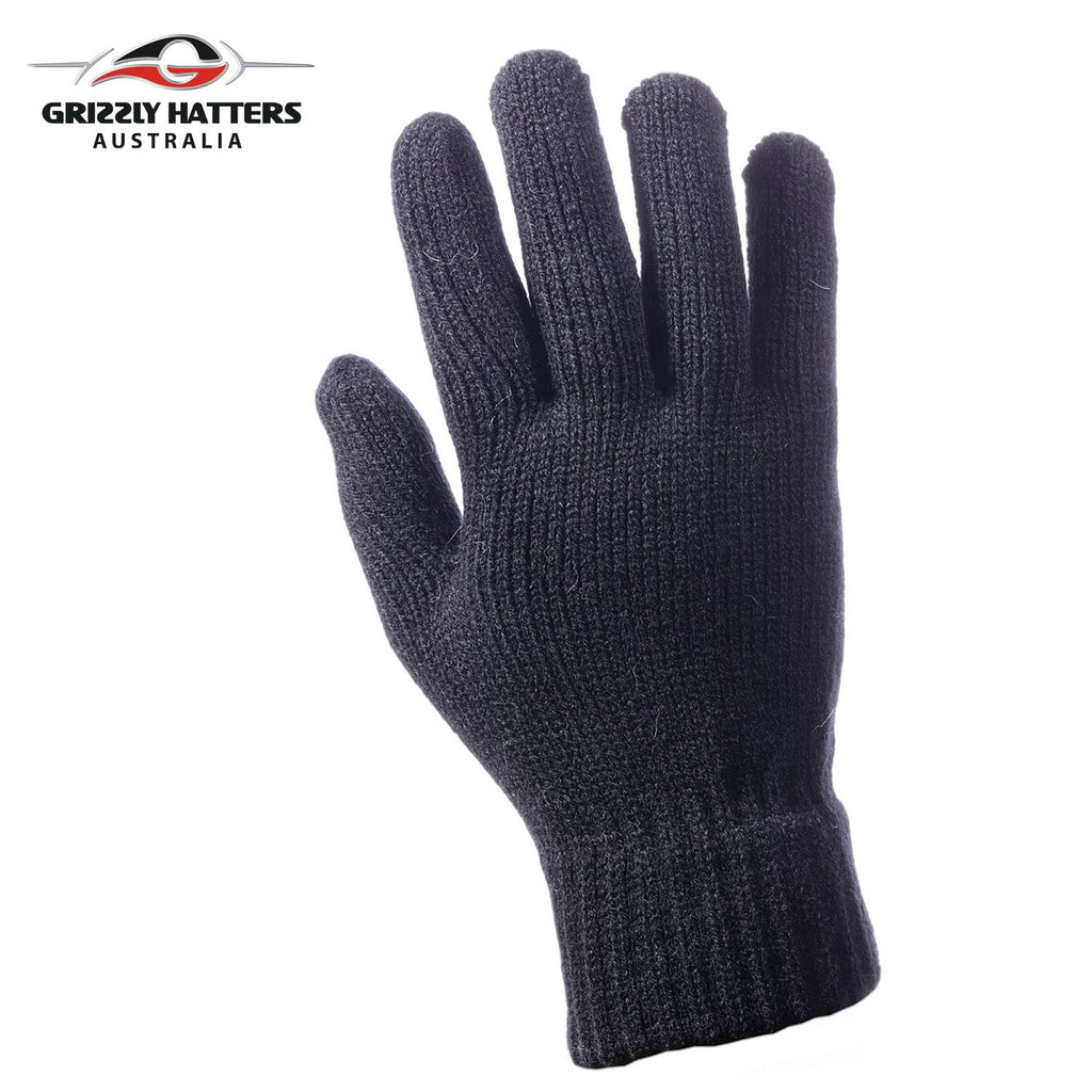 flufffy angora and sheeps wool gloves with extra lining layer by Grizzly Hatters black colour