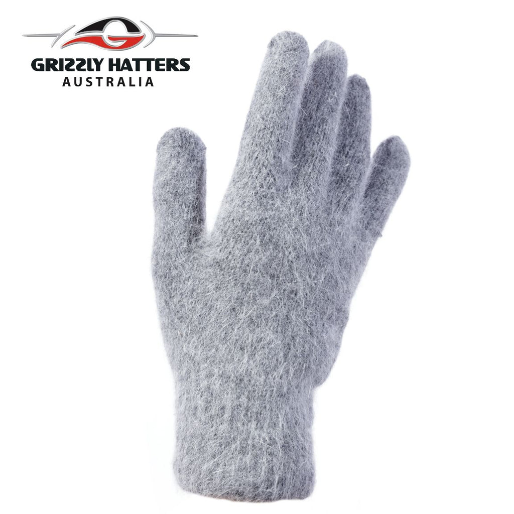 flufffy angora and sheeps wool gloves with extra lining layer by Grizzly Hatters grey colour