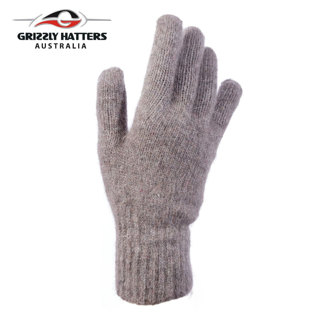 flufffy angora and sheeps wool gloves with extra lining layer by Grizzly Hatters tan colour