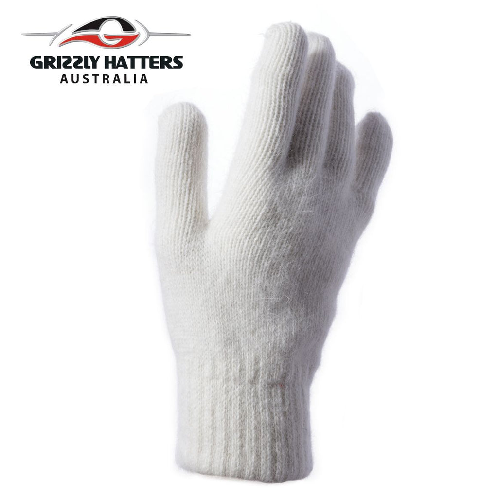 flufffy angora and sheeps wool gloves with extra lining layer by Grizzly Hatters white colour