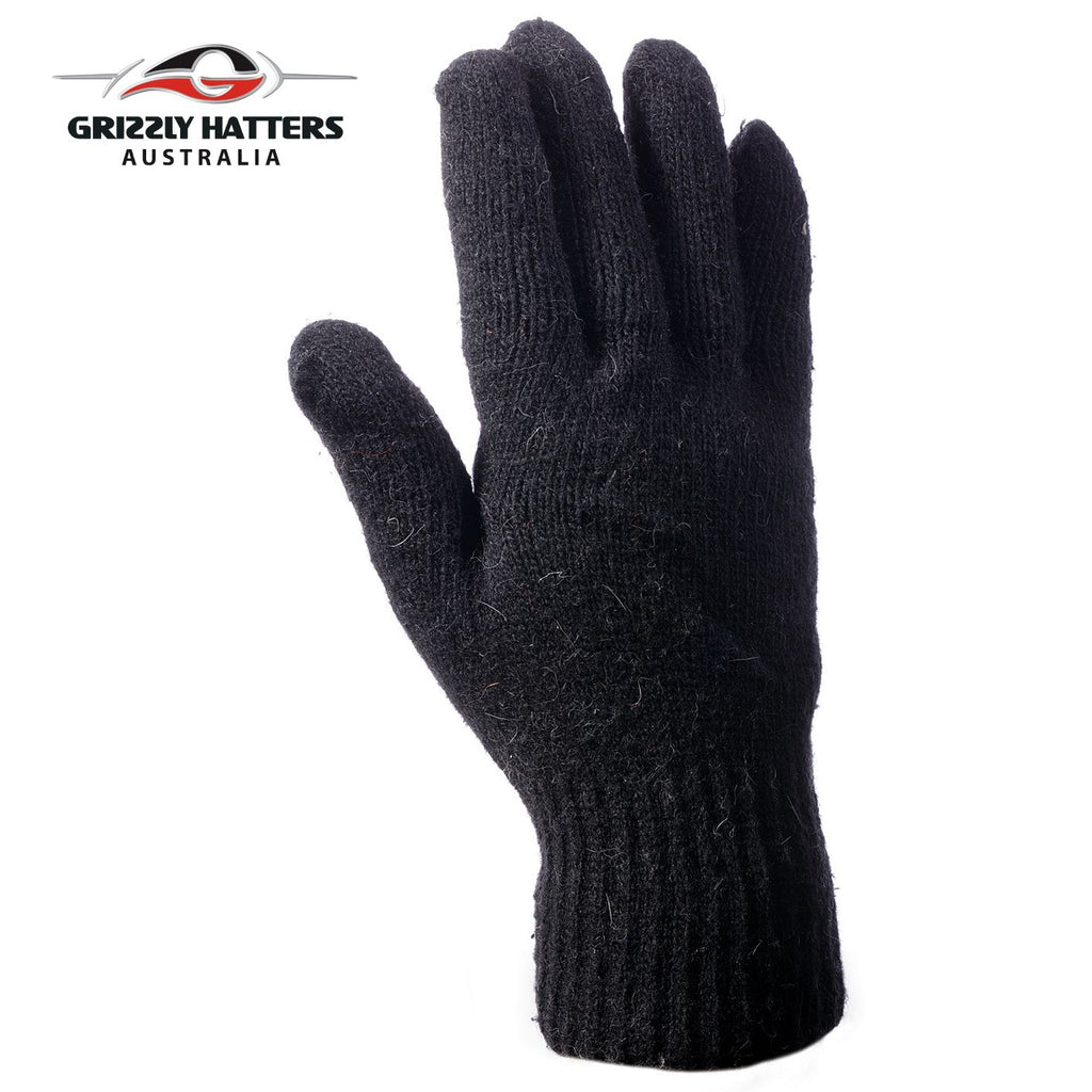 Mens angora wool gloves with extra lining one size fits most black colour