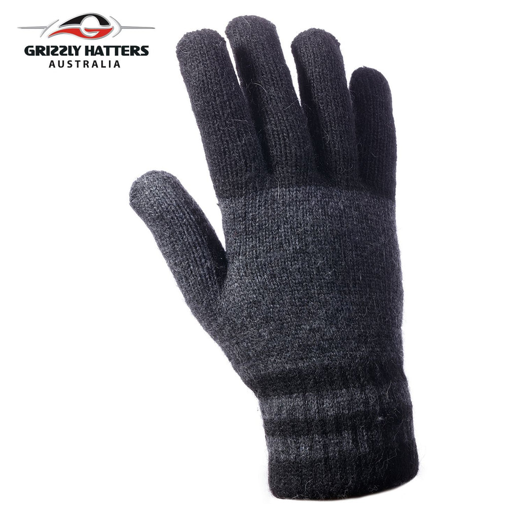 Mens angora wool gloves with extra lining one size fits most grey /black colour stripes