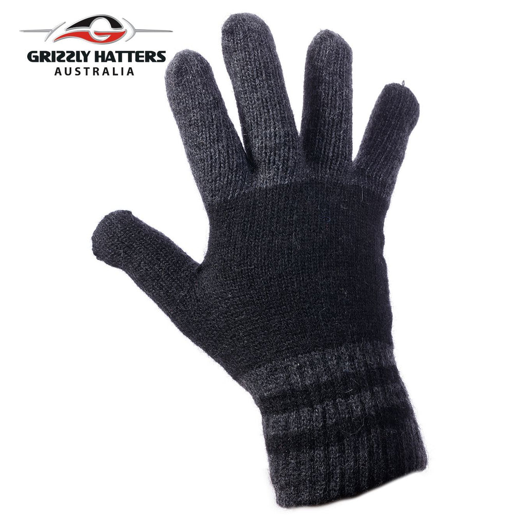 Mens angora wool gloves with extra lining one size fits most grey / black colour  stripes
